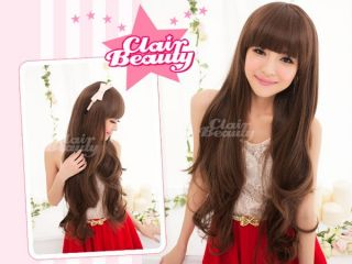 Korean even bangs Womens Wavy curly Extra Long Full Hair Wigs & cap