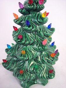 Vtg 1970s Atlantic Mold Ceramic Christmas Tree 12 Tall Modern Eames