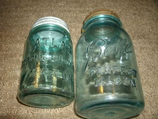 Vintage Mason Jars  Glass seals under lids  Ball Mason Jar +Atlas Jar