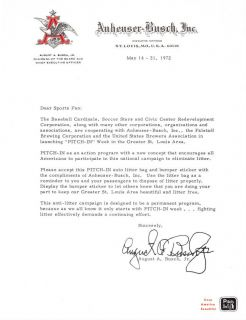 August A. Busch Jr Cardinals owner Ltr on AB letterhead 1972