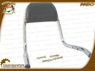 New Padded Backrest Chromed 350cc 500cc Royal Enfield Vintage Auto