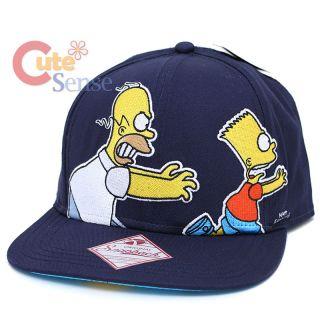Simpsons Homer and Bart Mens Snapback Hat Falt Bill Adjustable Cap