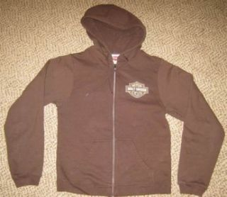 Mens Harley Davidson Brown Bartels Los Angeles CA Long Sleeve Zipper