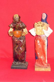 02 Pieces Vintage Mexican Folk Art Paper Mache Sculpture Dolls Womans