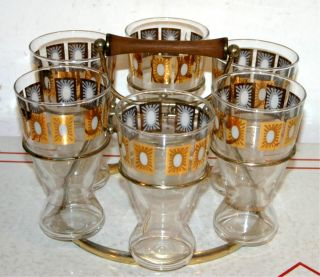 Vinage Barware Se of 6 Hi Ball Cockail Glasses in a Meal Rack Fred