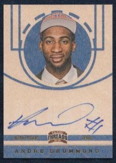 Panini Threads 209 ANDRE DRUMMOND Wood On Card Rookie RC AUTO Pistons