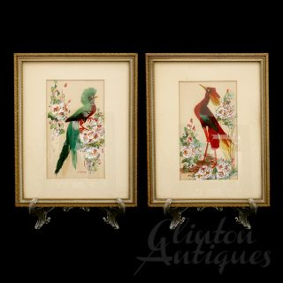Pair of Glenn F. Bastian Feather Bird Gouaches Folk Art Watercolor