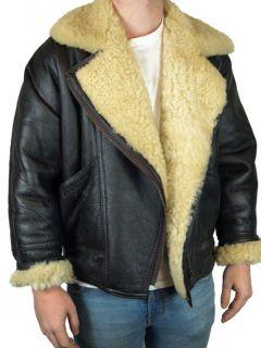 Vintage Leather Sheepskin Aviator Flying Jacket Coat B3 Brown Large 42