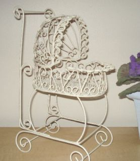 Lacy Wire Baby Carriage for Baby Shower or Christening Decorations