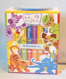 BABY EINSTEIN 12 Board Book Box Set Disney Gift *NEW* Shapes Colors