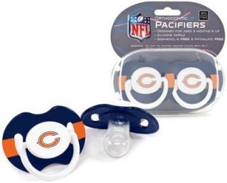 Bears Pacifiers 2 Pack Set Infant Baby Fanatic BPA Free NFL