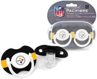 Steelers Pacifiers 2 Pack Set Infant Baby Fanatic BPA Free NFL