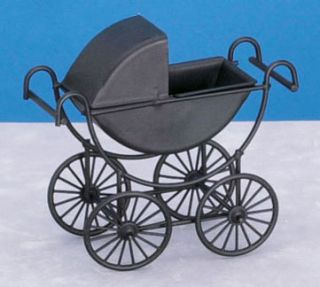 Dollhouse Miniature Metal Baby Carriage Pram Buggy