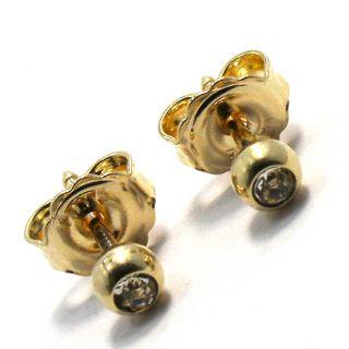 18k GF CZ White Crystal Baby Girl Earrings Inafants Bezel 3mm Kids