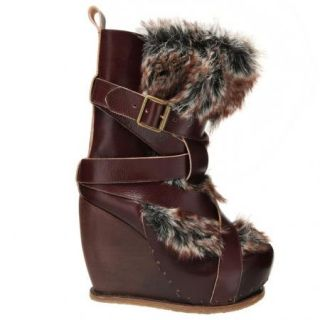 Irregular Choice The Beast Womens Boots Tall in Brown w Faux Fur