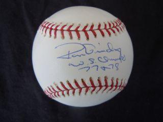 Ron Guidry Signed MLB Baseball NY Yankee Pitcher Insc 77 78 WS Champs