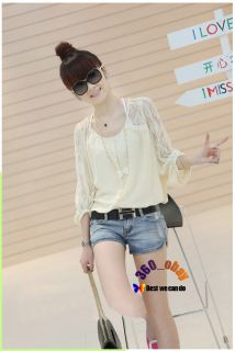 Korean Womens Girls Asymmetric Hem Chiffon Lace Sleeve Shirt Top