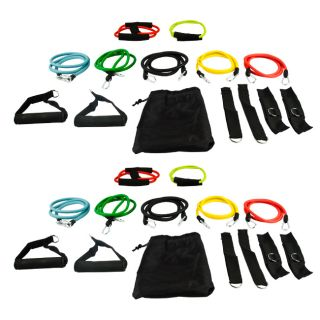 28pc Resistance Band Fitness Gym Exercise Workout Double Set Heavy