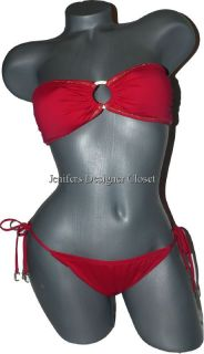 COUTURE swimsuit strapless bandeau bikini bright red gold metallic M