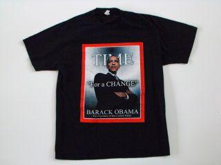 BARACK OBAMA FOR PRESIDENT TIME FOR A CHANGE t shirt mens LARGE L