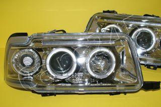 Audi 80 B4 Clear Chrome LED Headlights with Angel Eyes Pair 1991 1995
