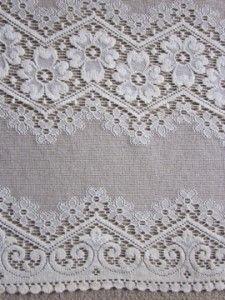 Vintage pure Cotton LACE CURTAIN PANEL BAY window sash 36inch drop