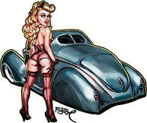 Bare Elegance Lowrider Custom Car Girl Sticker Decal Artist Big Toe