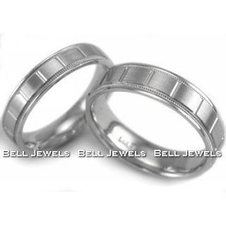 HIS & HER MATCHING BRIDAL SET WEDDING BANDS RINGS 14K WHITE GOLD