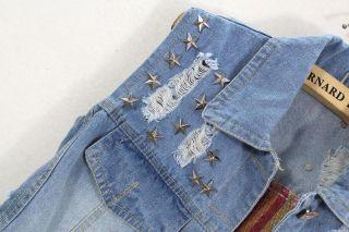 Nail USA Flag Star Vest Sleeveless Jean Jacket Coat QZ291
