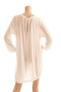 BCBG Max Azria White Long Sleeve Knit Tunic Swim Bathing Suit Cover Up