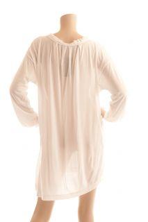 BCBG Max Azria White Long Sleeve Knit Tunic Swim Bathing Suit Cover Up