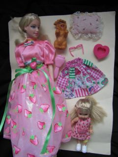 Barbie Kelly Dolls Clothes Outfits Dog Pillow Lot Fun Set Strawberry