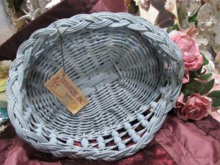 SOFT AQUA BLUE WHITEWASHED BEADED BASKET~Shabby~Cottage~Chic