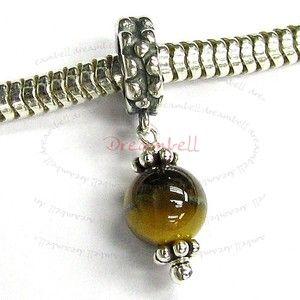 Silver Tiger Eye Dangle Bead for European Charm Bracelets