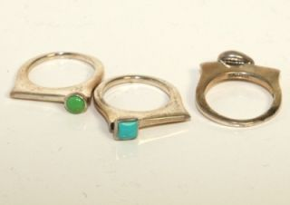 Vintage Barse Sterling Silver Turquoise, Jade Stones Stackable Ring