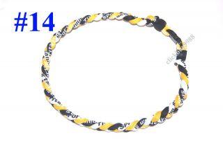 of 10 Yellow Black White Baseball Titanium Necklaces Tornado