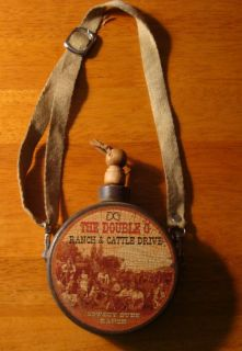 Vintage Country Western Dude Ranch Cattle Drive Canteen Old West