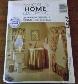 McCALLS 2721 HOME DECOR BATHROOM Sink Bath Skirt Curtains Toilet Cover