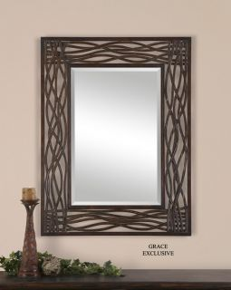 Woven Sea Grass Metal Wall Mirror Bathroom Vanity Beach Island