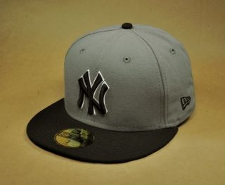 MLB Baseball Cap New York Yankees Steel Gray Black Throwback