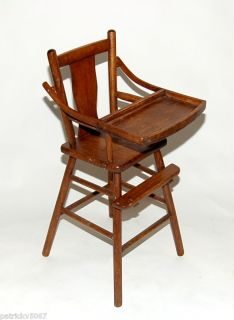 Solid Wood Antique Baby High Chair with Flip Up Tray
