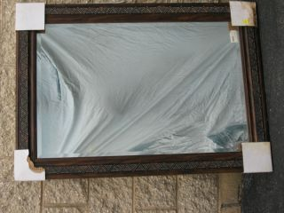 LARGE WOOD FRAMED MIRROR PERFECT FOR HOME ENTERANCE OR BATHROOM