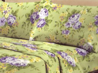 Basics Collection 200T French Rose Green Purple Yellow Queen Sheet Set