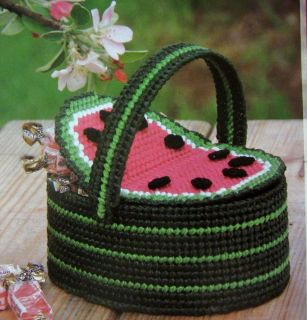 ROSE KEY CASE AND MINI WATERMELON BASKET, Plastic Canvas Pattern
