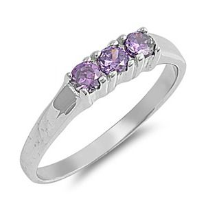Sterling Silver Ring Size 4 CZ Purple Amethyst Baby Girl Child Pinky