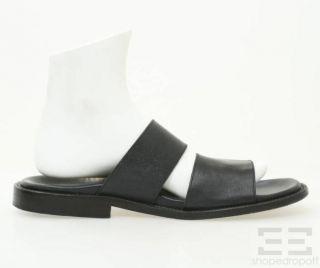 Battaglia Black Leather Double Strap Mens Sandals Size 44