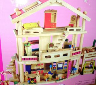 Battat Deluxe Wooden 3 level Doll House loaded 10 accessory sets
