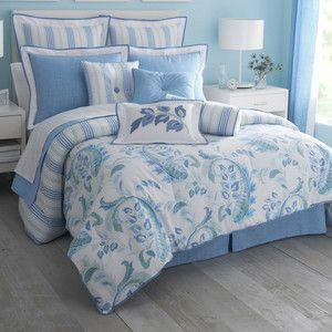 IZOD Calypso Blue Turquoise Full Comforter 4pc Set
