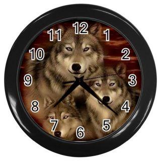 New Women Girl Brown Wolf 2 Wall Clock Bedding Kitchen Bath Gift Free