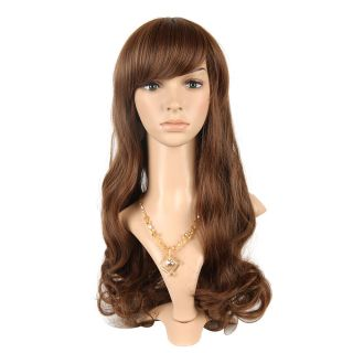 27 56 inch Popular Side Bang Long Curly Hair Wig Brown Fashion Cosplay